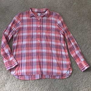 J. Crew Plaid Half Button Down Shirt
